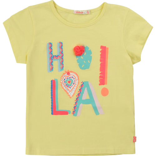 Billieblush Girls Cotton Yellow HOLA T-Shirt  SKU  U15729-60  S/S20