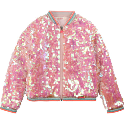 Billieblush  Girls Pink Sequin Blouson Jacket
