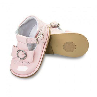 Fofito Andrea Baby Girls Pink Patent T-Bar with Fancy Bow - B2892