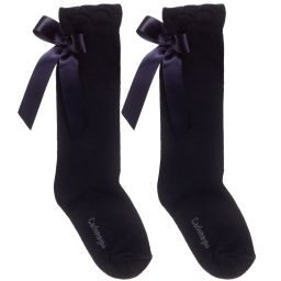 Carlomagno Navy High Knee Back Bow Sock
