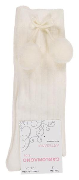 Carlomagno Ivory Under Knee Big Pom Pom Sock