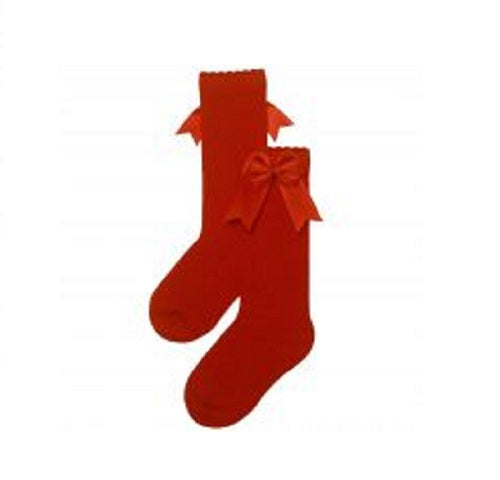 Carlomagno Red High Knee Double Side Bow Sock G2