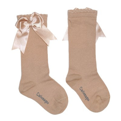 Carlomagno Camel High Knee Double Side Bow Sock