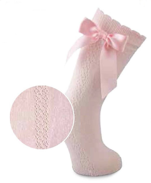 Carlomagno Pink Rosa High Knee Patterned Bow Sock