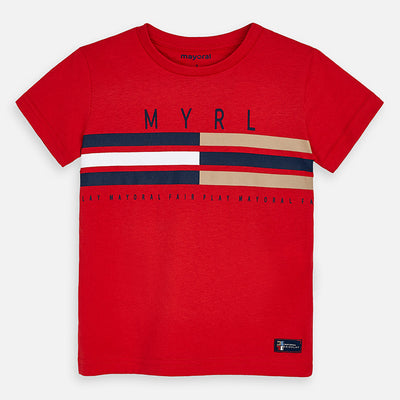 Mayoral Boys Red Striped T-Shirt