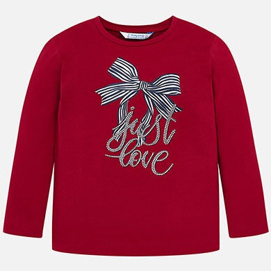 Mayoral Girls Red Bow L/s  T-Shirt  SKU 4016-64
