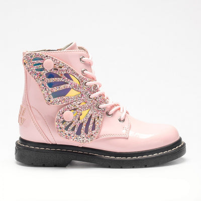 New Lelli Kelly Fairy Wing Rosa Pink Patent Boot  LK6540