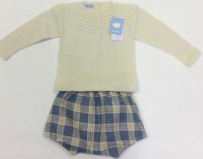 Mac ilusion Baby Boys 2 Piece Natural Checked Culotte