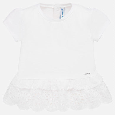 Mayoral Baby Girls White Frill T-shirt