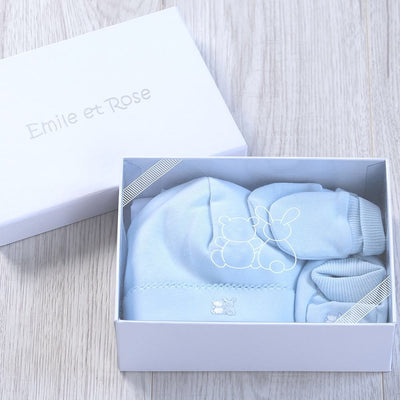 Emile et Rose Unisex Baby Boys Pale Blue Gift Set