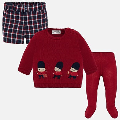 Pre Order Mayoral Baby Boys Red Pants & Sweater Set  - SKU -2203-78