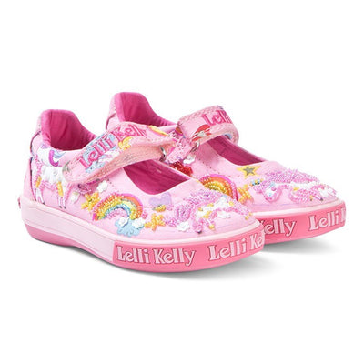Lelli Kelly Unicorn Canvas Dolly Shoes Pink Fantasy SKU -  LK9050