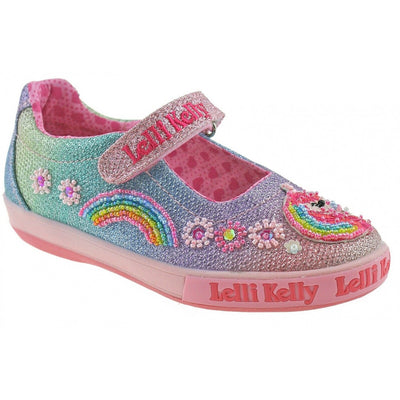 Lelli Kelly Rainbow Unicorn Multi Glitter Sparkle Dolly Shoes SKU  LK1082  S/S20
