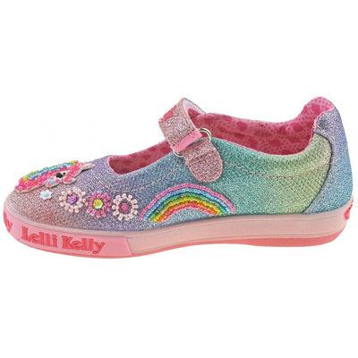 Lelli Kelly Rainbow Unicorn Multi Glitter Sparkle Dolly Shoes