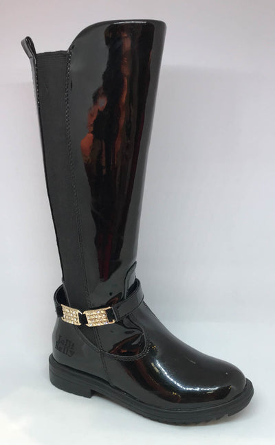 Lelli Kelly Eloisa Nero Patent Leather Riding Boot SKU LK3664