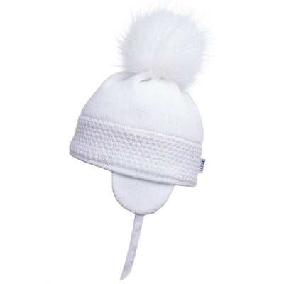 Satila Daisy White Faux Fur Pom Pom Hat  C71817