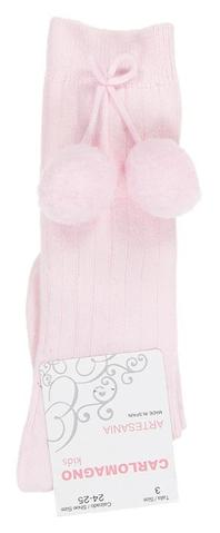 Carlomagno Pink Under Knee Big Pom Pom Sock