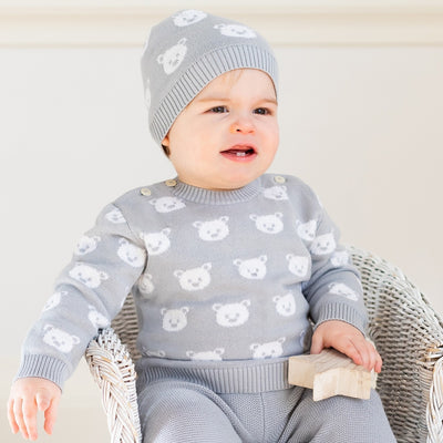 Emile et rose Rex Grey Knit Teddy Bear Trouser Set  SKU 6431gr