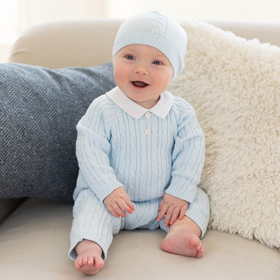 Emile et rose Ronnie Knit Boys All in One & Hat Set  SKU 1846pb