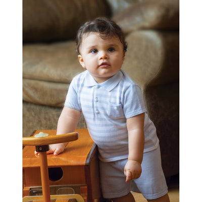 Sarah Louise Baby Boys Blue & White 2 Piece Set