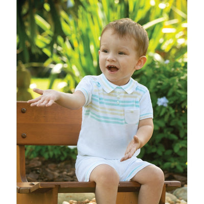 Sarah Louise Baby Boys White / Mint and Lemon 2 Piece Set