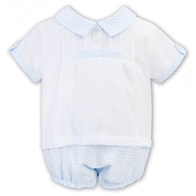 Sarah Louise Boys White and Blue Gingham Shortie Romper