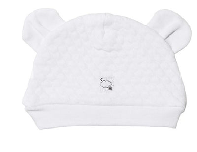 Absorba Baby White Quilted Hat with Ears