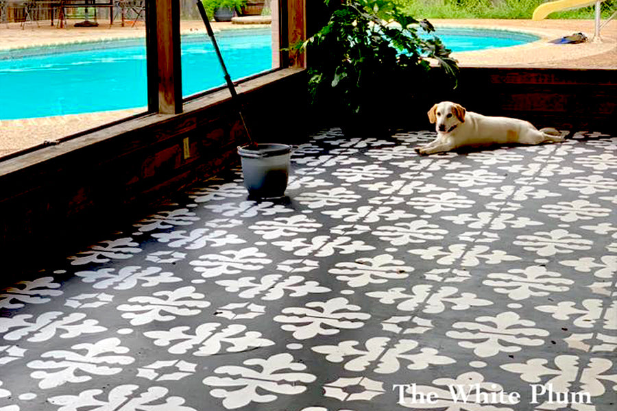 06-Susie-Italian-Tile-Design-DIY-stenciled-floor-makeover-pool-tiles