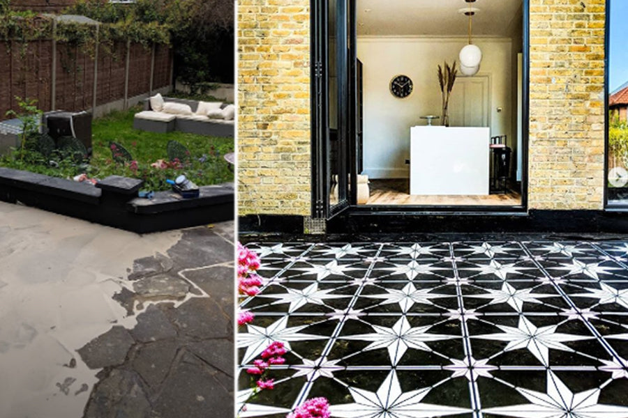 07-Steph-star-tile-stenciled-concrete-patio-large-garden-makeover