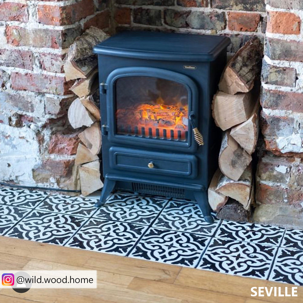 VIDEO of how to stencil hearth tiles