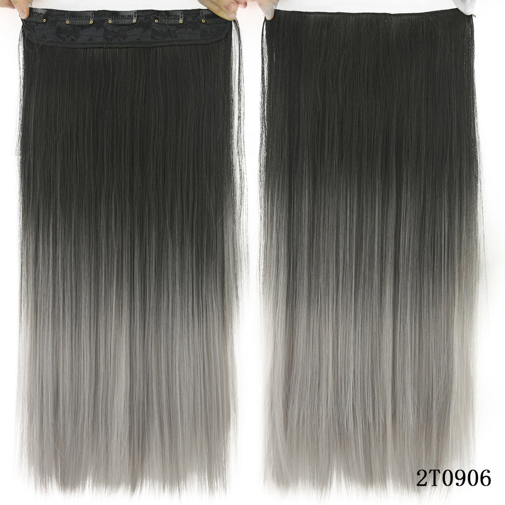 Selected 60cm Grey Hair Extension Heat Resistant Synthetic Hair Clip