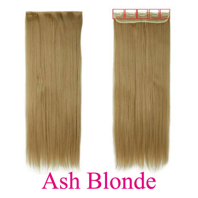 Selected Synthetic Half Full Head Long Straight Clip In Hair