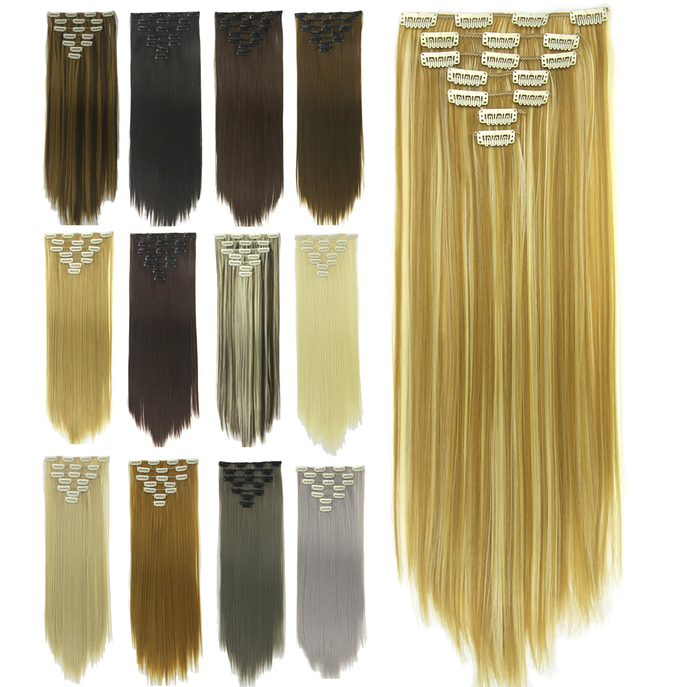 Selected 7pcsset 140g Long Straight Burgundy Blonde Hair Pieces