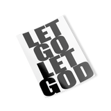 black let go let god rectangle sticker
