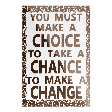 brown choice chance change rectangle sticker