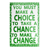 green choice chance change rectangle sticker