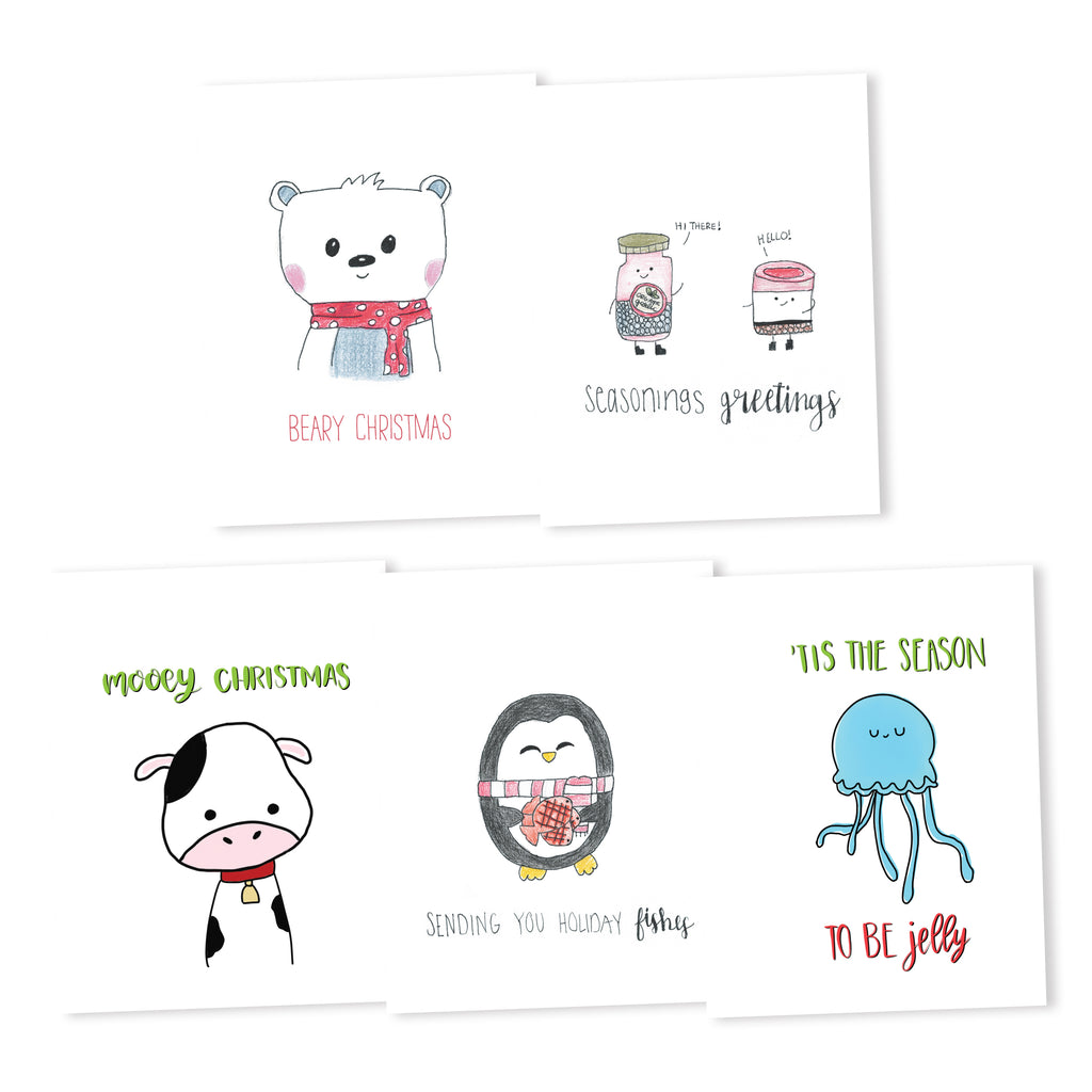 Holiday Themed Pun Cards Set 1