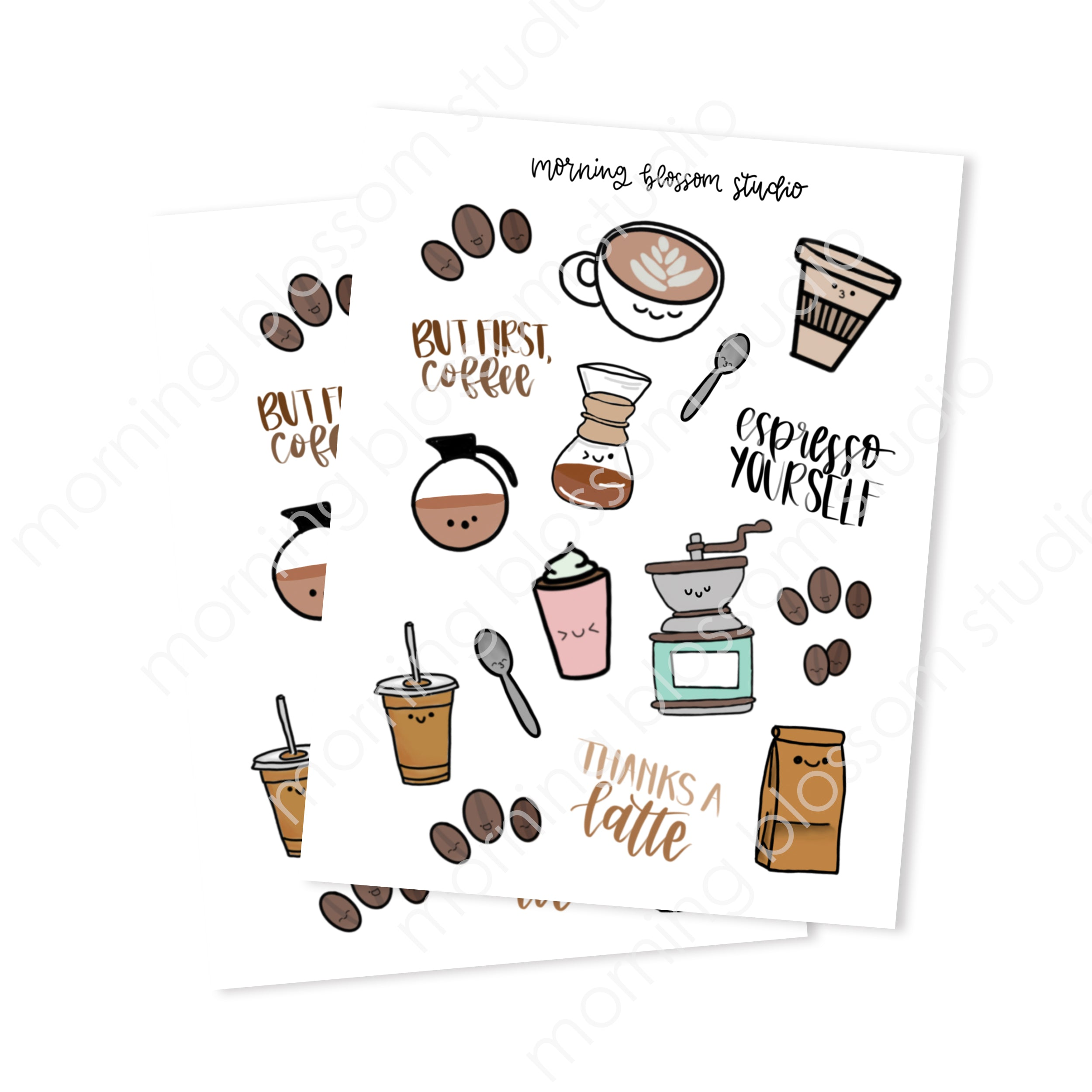Coffee Sticker Collection-Morning Blossom Studio