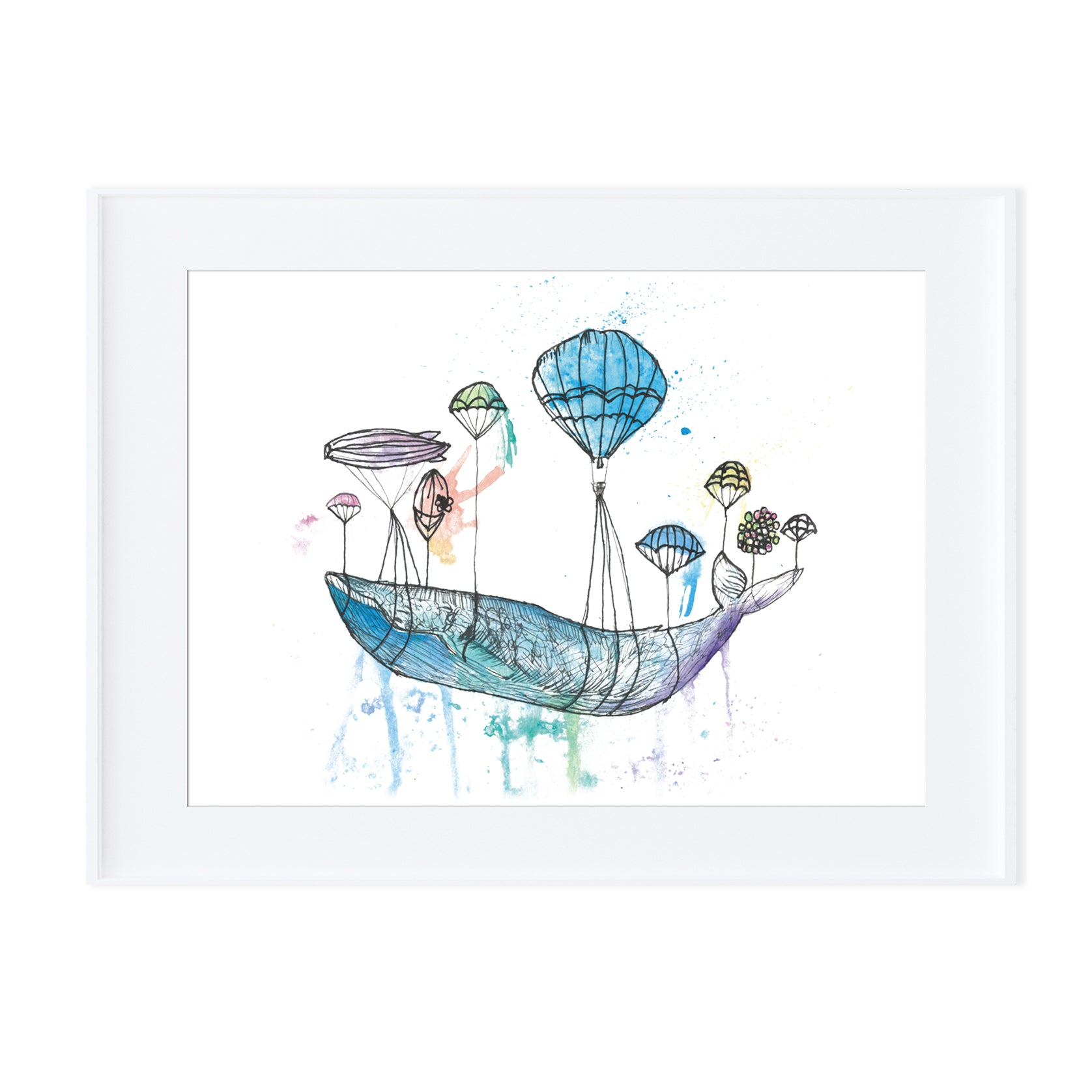 Whale in the sky-Prints-Morning Blossom Studio