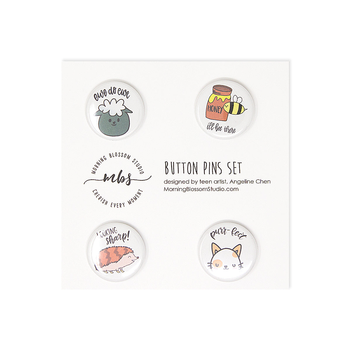Land Animals Button Pins Set 1-Morning Blossom Studio