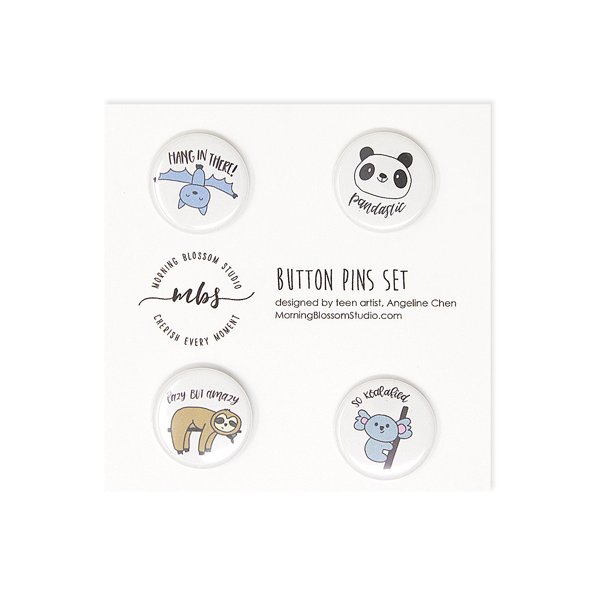 Land Animals Button Pins Set 2-Morning Blossom Studio