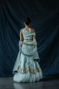 Siah - Mint green off-shoulder embroidered lehenga set