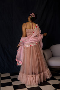 Noor - Dusty rose net pleated bustier and ruffled skirt lehenga set