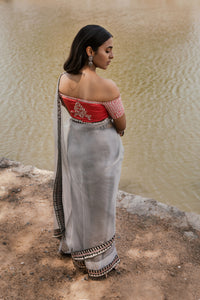 Ahalya - Grey embroidered silk organza saree