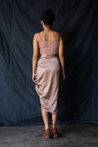 Melania - Ruched skirt with adjustable tasseled drawstrings