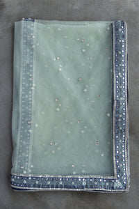 Zahara - Mint green swiss net gota work dupatta