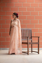 Nahla - Pale coral hand embroidered silk organza saree