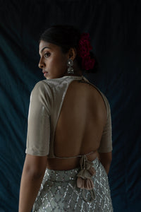 Mehr - Sequined draped sarong skirt with blouse and dupatta set