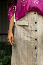 Fiza - Handwoven striped button down slit skirt