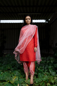 Imroz - Red silk kurta with embroidered sheer tulip pants and dupatta set